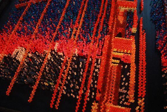 Golden Gate Bridge Giant Lite Brite, orange, red, sculpture, wall art, San Francisco, California