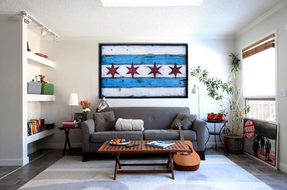 Handmade Distressed Wooden Chicago Flag Vintage Art Weathered Recycled