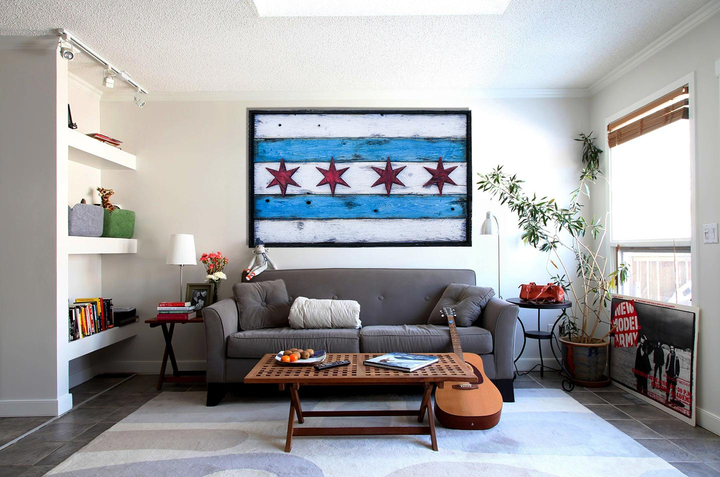 Handmade Distressed Wooden Chicago Flag Vintage Art Distressed