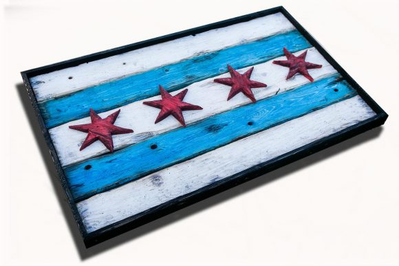 Handmade, Distressed Wooden Chicago Flag, vintage, art, distressed, weathered, recycled, Chicago flag art, home decor, Wall art, recycled
