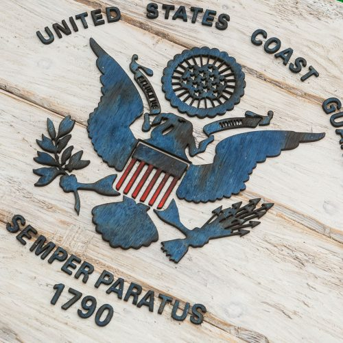 Handmade, Distressed Wooden Coast Guard Flag, vintage, art, distressed, weathered, recycled, home decor, Wall art, reclaimed, White