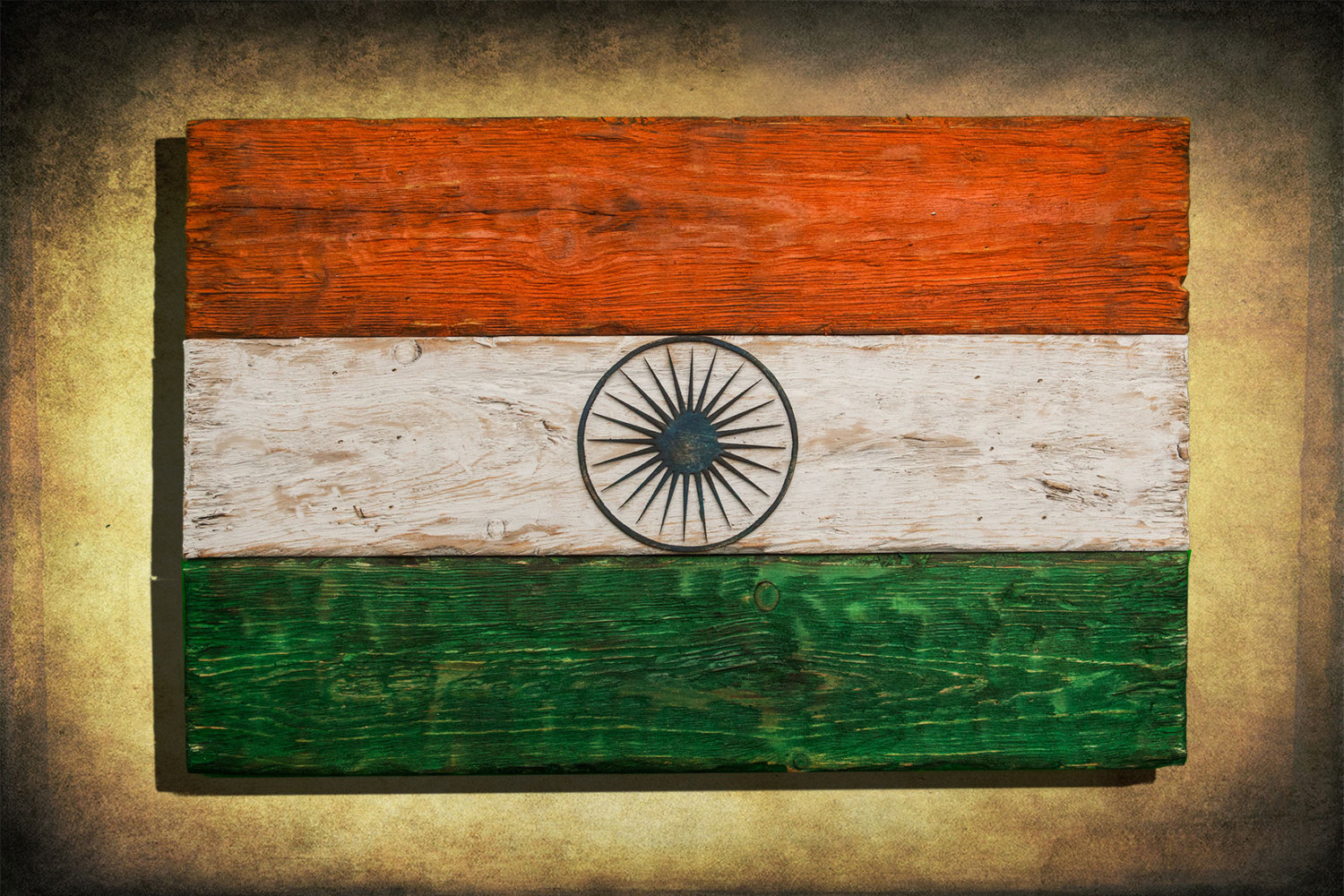 Handmade Distressed Wooden Flag Of India Vintage Art