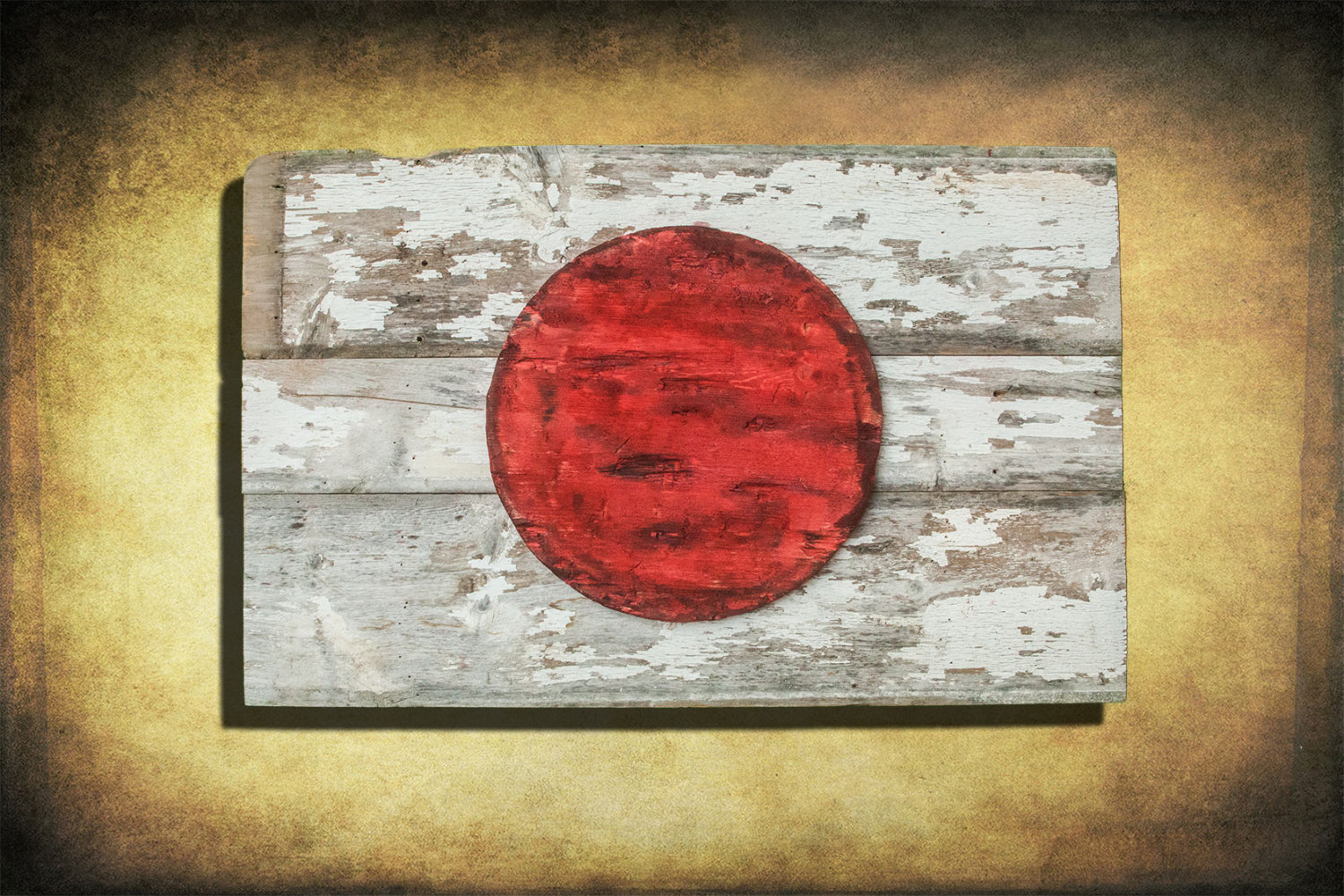 Handmade Distressed Wooden Flag Of Japan Vintage Art Barn Wood