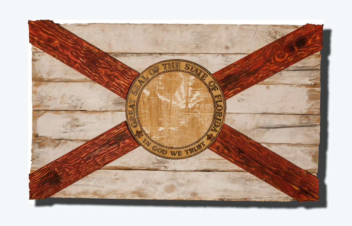 Handmade, Distressed Wooden Florida Flag, vintage, art, distressed ...