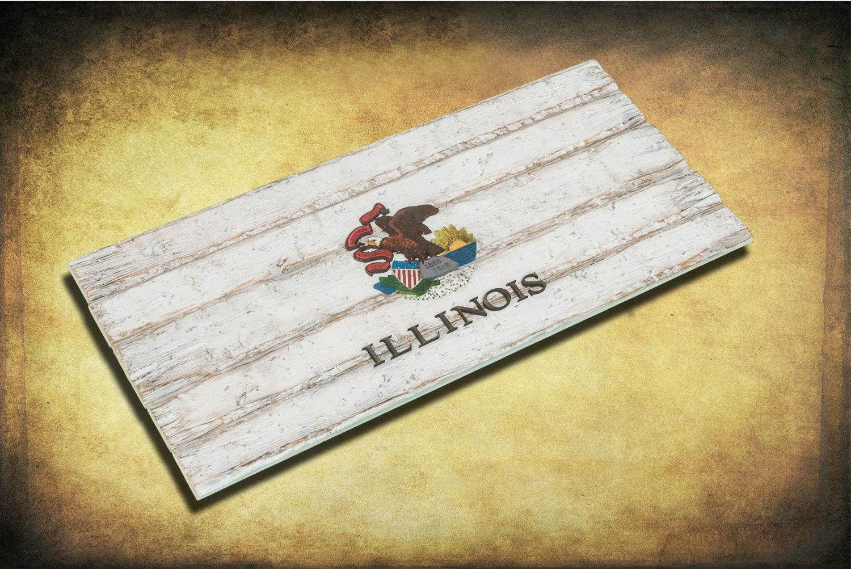 Handmade, Distressed Wooden Illinois State Flag, vintage, art ...