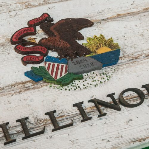 Handmade, Distressed Wooden Illinois State Flag, vintage, art, distressed, weathered, recycled, home decor, Wall art, reclaimed, White