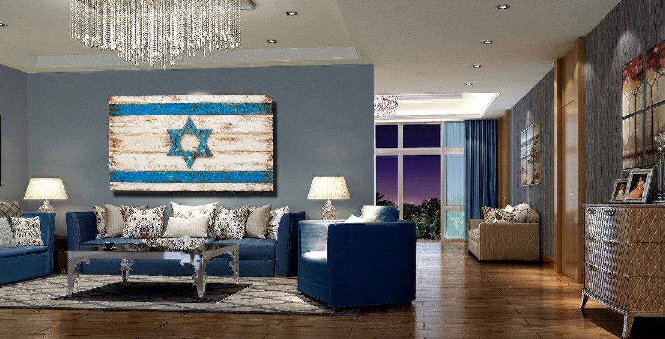 Handmade distressed wooden israel flag vintage art for Kosher home