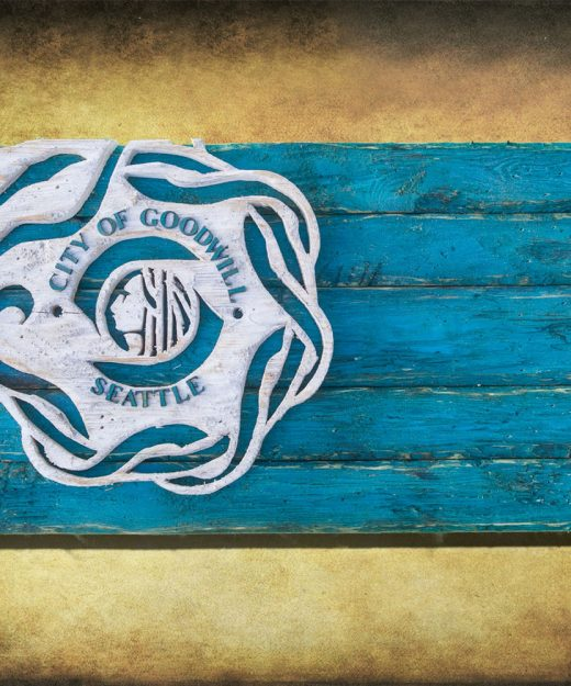 Handmade, Distressed Wooden Seattle City Flag, vintage, art, distressed, weathered, recycled, home decor, Wall art, reclaimed, Teal, Blue