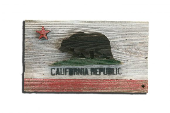 Handmade, reclaimed Wooden California Flag, vintage, art, distressed, weathered, recycled, California flag art, home decor, Wall art