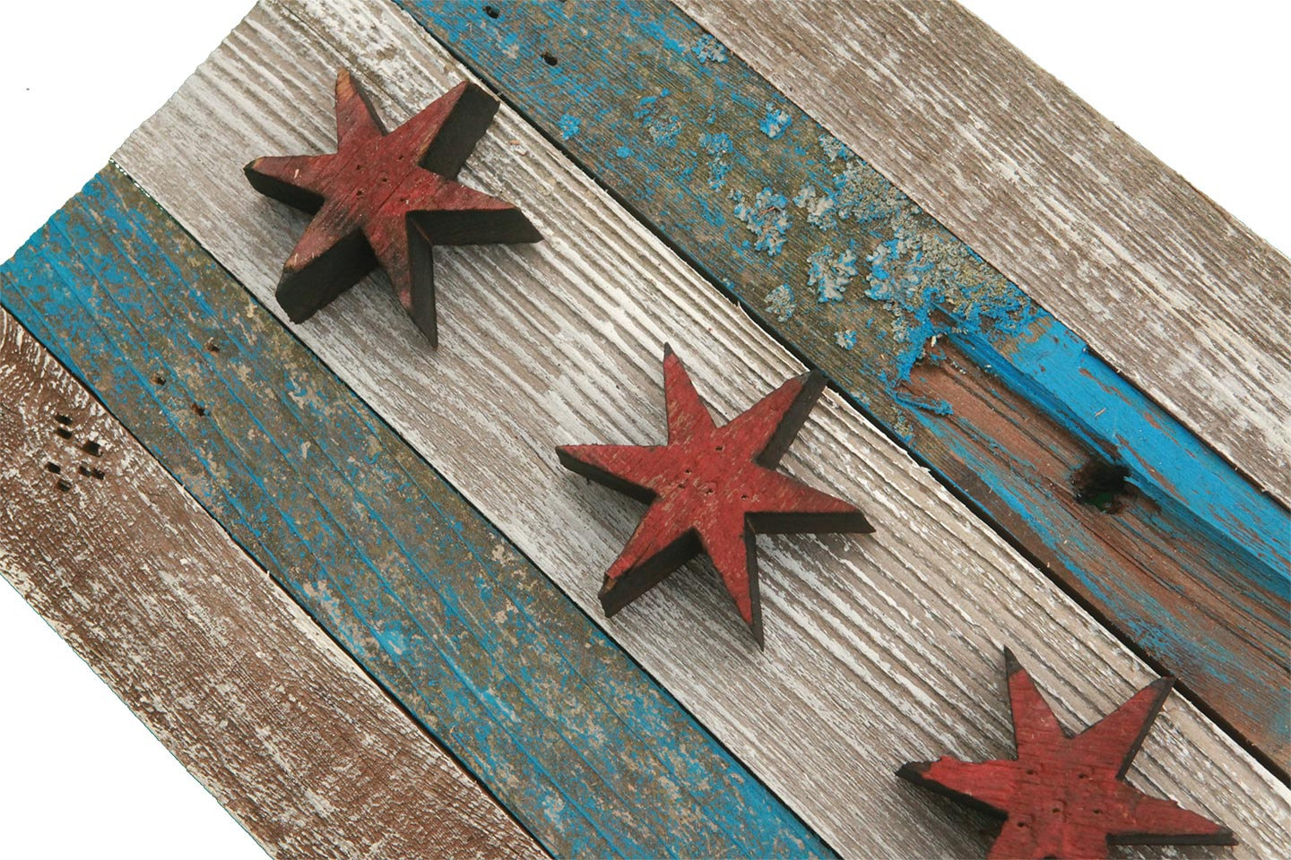 Handmade Reclaimed Wooden Chicago Flag Vintage Art