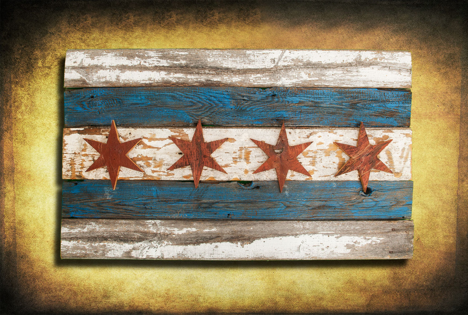 Handmade, Recycled Barn Wood Chicago Flag, vintage, art, distressed ...