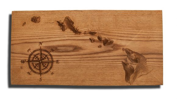 Hawaiian Islands Topographical Map carved from hard wood,  Hawaii, vintage, rustic fine art one of a kind piece.