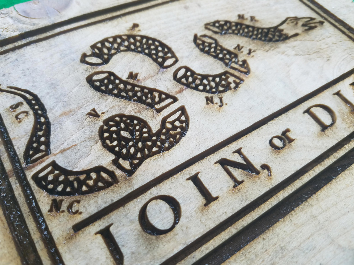 Join Or Die Flag Engraving Weathered Wood One Of A Kind Vintage Art Distressed Weathered Recycled Snake White