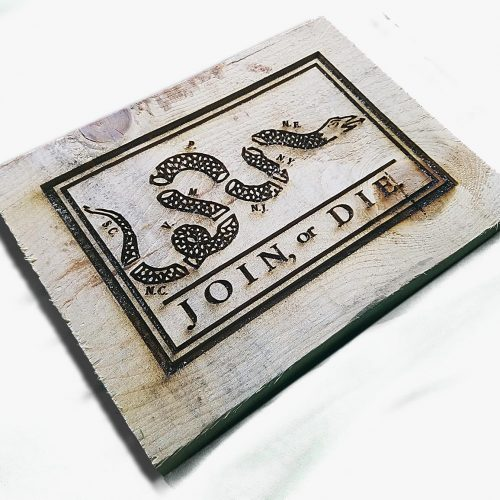 Join or Die Flag Engraving Weathered Wood One of a kind ,vintage, art, distressed, weathered, recycled, snake, white
