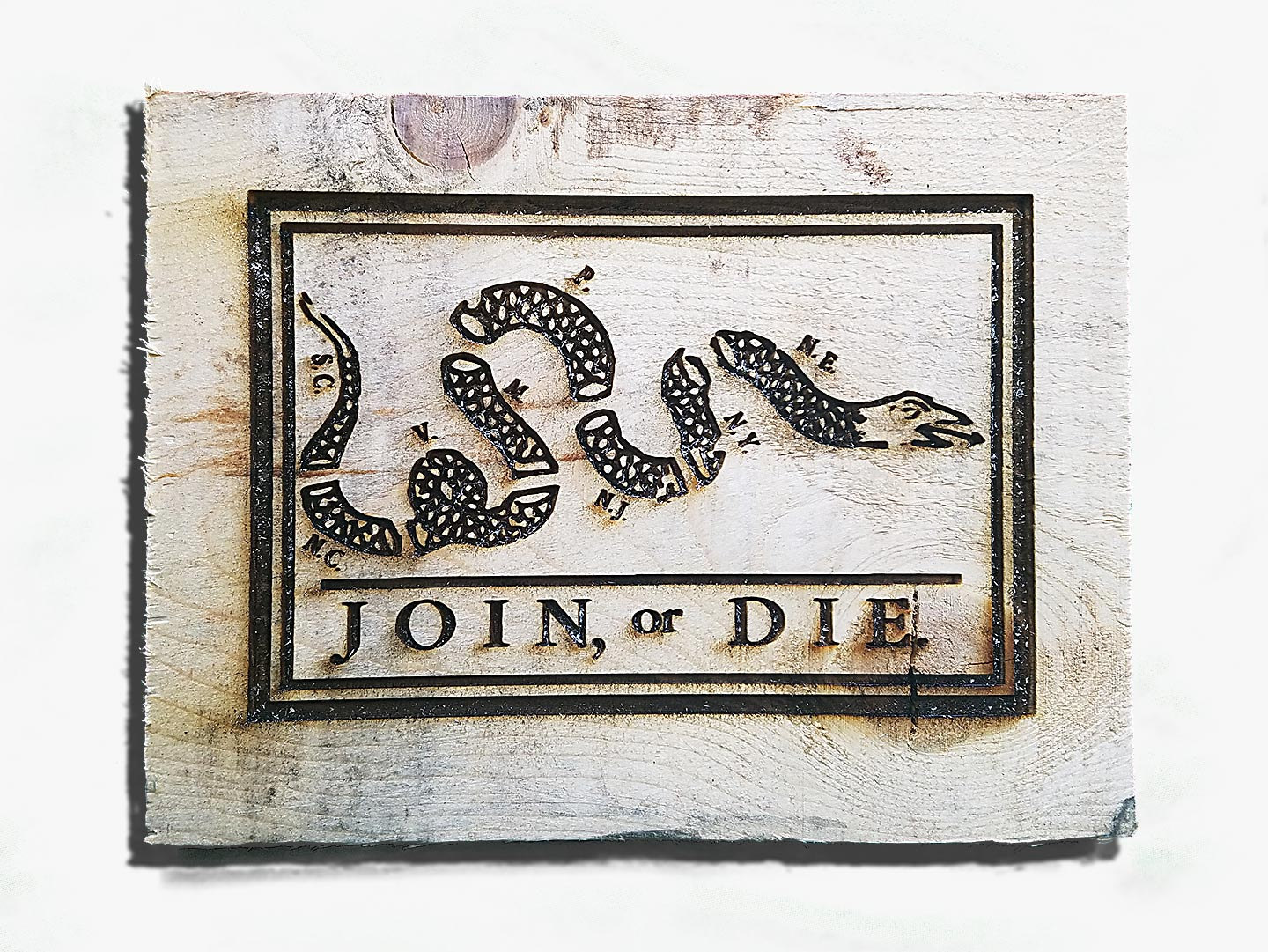 Join or Die Flag Engraving Weathered Wood One of a kind ,vintage ...