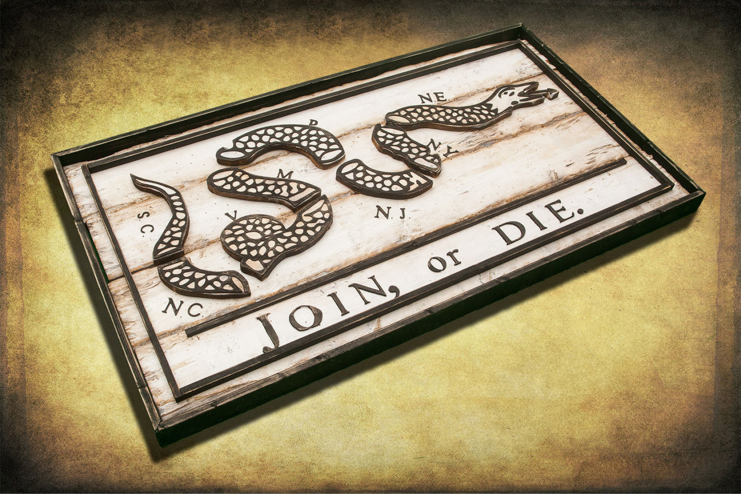 Join Or Die Flag Limited Edition Weathered Wood One Of A Kind Vintage Art Distressed Weathered Recycled Snake White