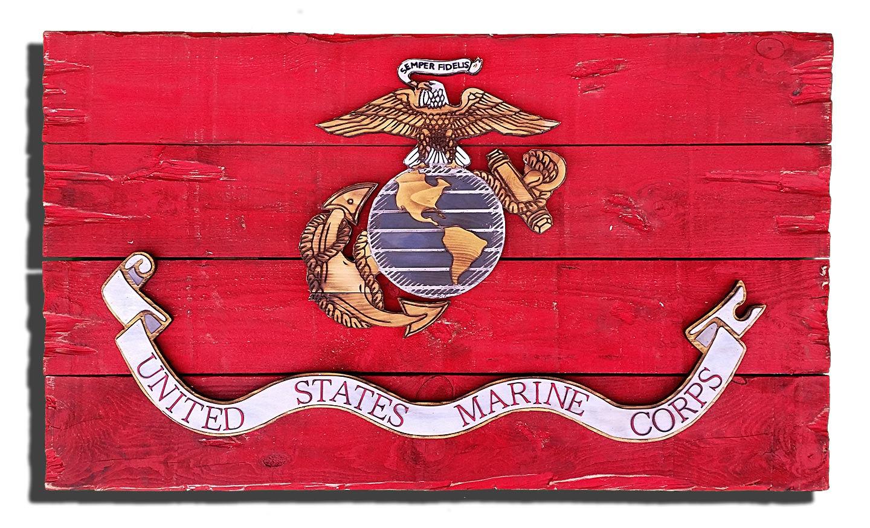 marine corps flag handmade vintage art distressed weathered