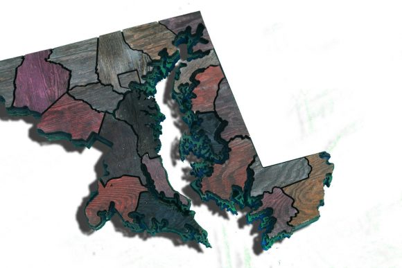 Maryland Counties map made from Reclaimed fencing, recycled, reclaimed wooden map, vintage, rustic fine art one of a kind piece.