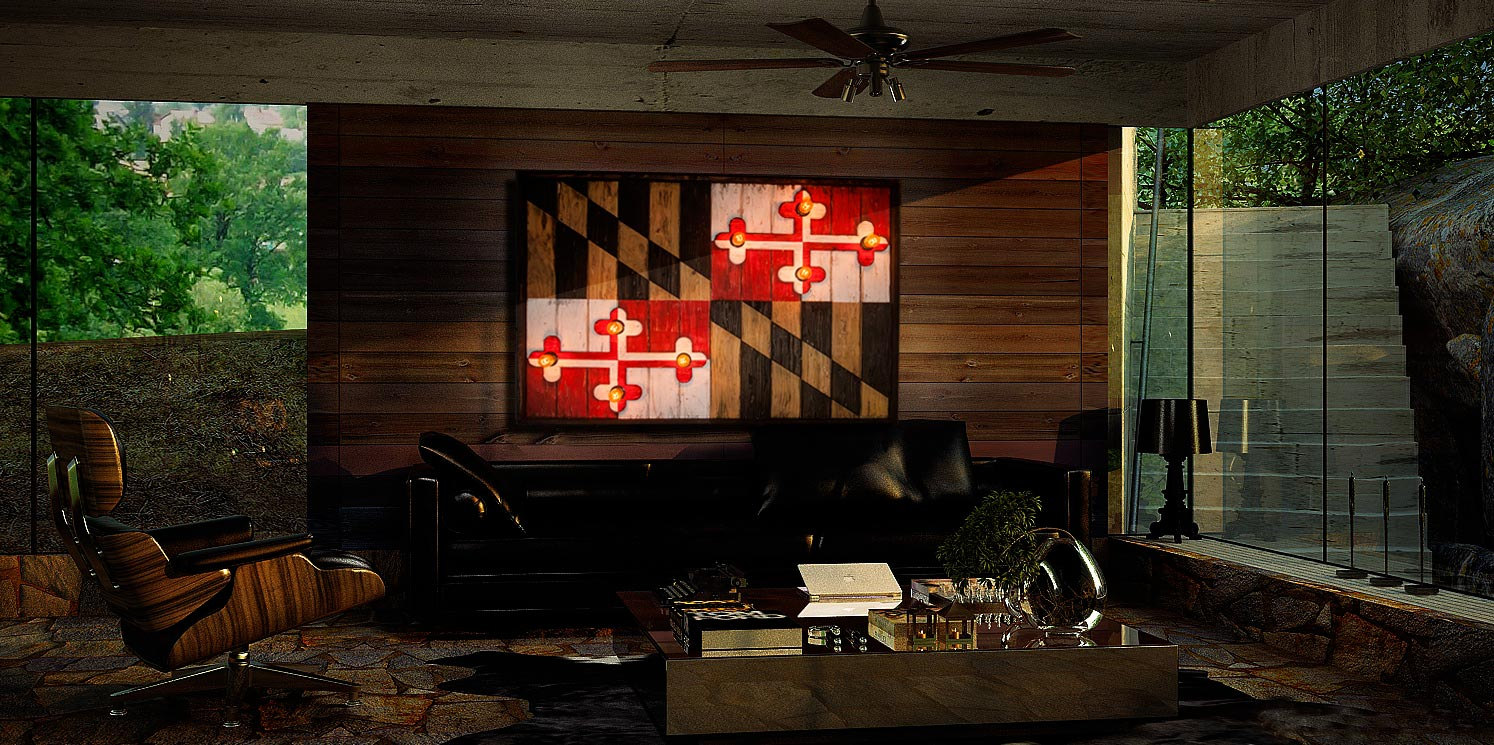 Attractive Maryland Flag, Limited Edison Edition, Weathered Wood One Of A Kind ,  Wooden,