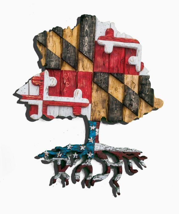 Maryland flag tree with American Roots!, USA, Heritage, Patriotic, United States, Baltimore, Red white blue, 4th of July, split flag