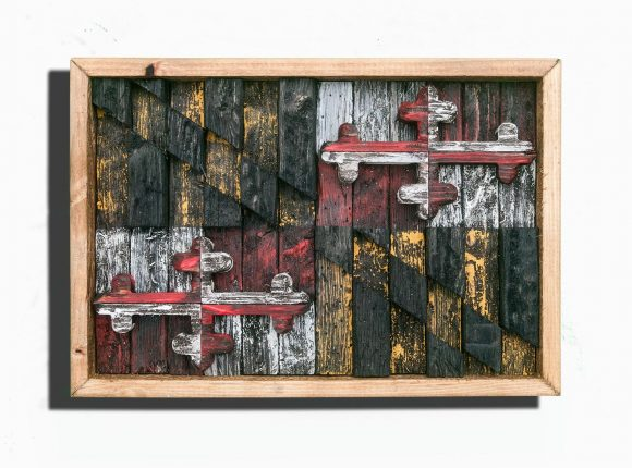Maryland Flag,Framed Limited Edition, Weathered Wood One of a kind, Wooden, vintage, distressed, weathered, recycled, Baltimore, red, yellow