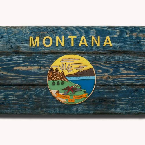 Montana State Flag, Handmade, Distressed Wooden ,vintage, art, distressed, weathered, recycled, home decor, Wall art, reclaimed, Blue