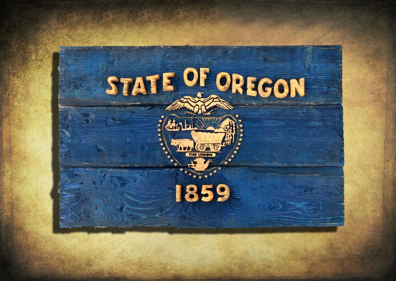 Oregon Flag, Distressed Wooden Flag, vintage, art, distressed ...