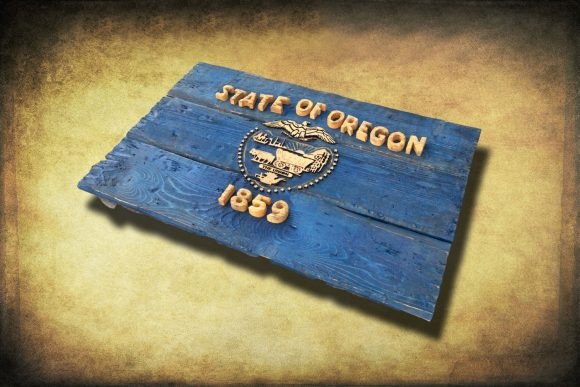 Oregon Flag, Distressed Wooden Flag, vintage, art, distressed, weathered, recycled, home decor, Wall art, recycled, yellow, Blue, Portland