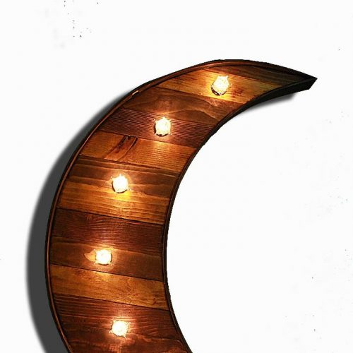 Reclaimed barn wood marquee Moon w/ Lights, Shabby Chic, Salvaged Barn Wood Letter, Night light, Nursery, restaurant, home decor