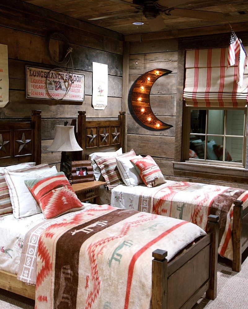 21 Most Unique Wood Home Decor Ideas: Reclaimed Barn Wood Marquee Moon W/ Lights, Shabby Chic