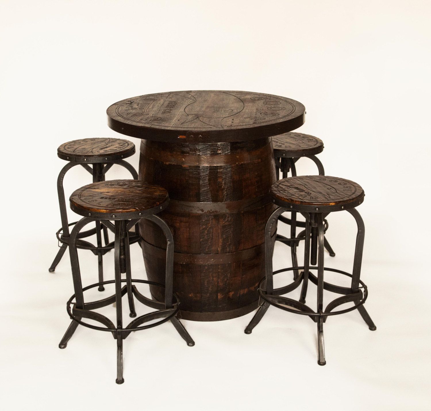 Superieur Reclaimed Bourbon Barrel Engraved Personalized Tables For Your Business Or  Home With 4 Matching Stools