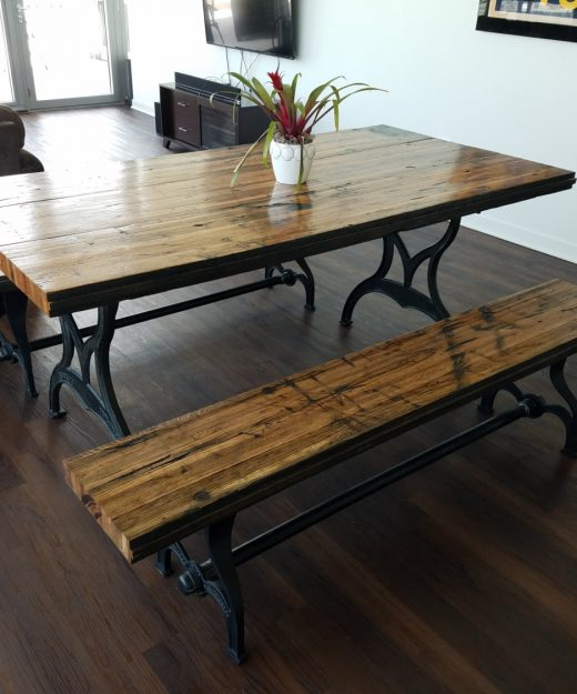 Oak archives chris knight creations reclaimed oak boxcar plank table with benches recycled watchthetrailerfo