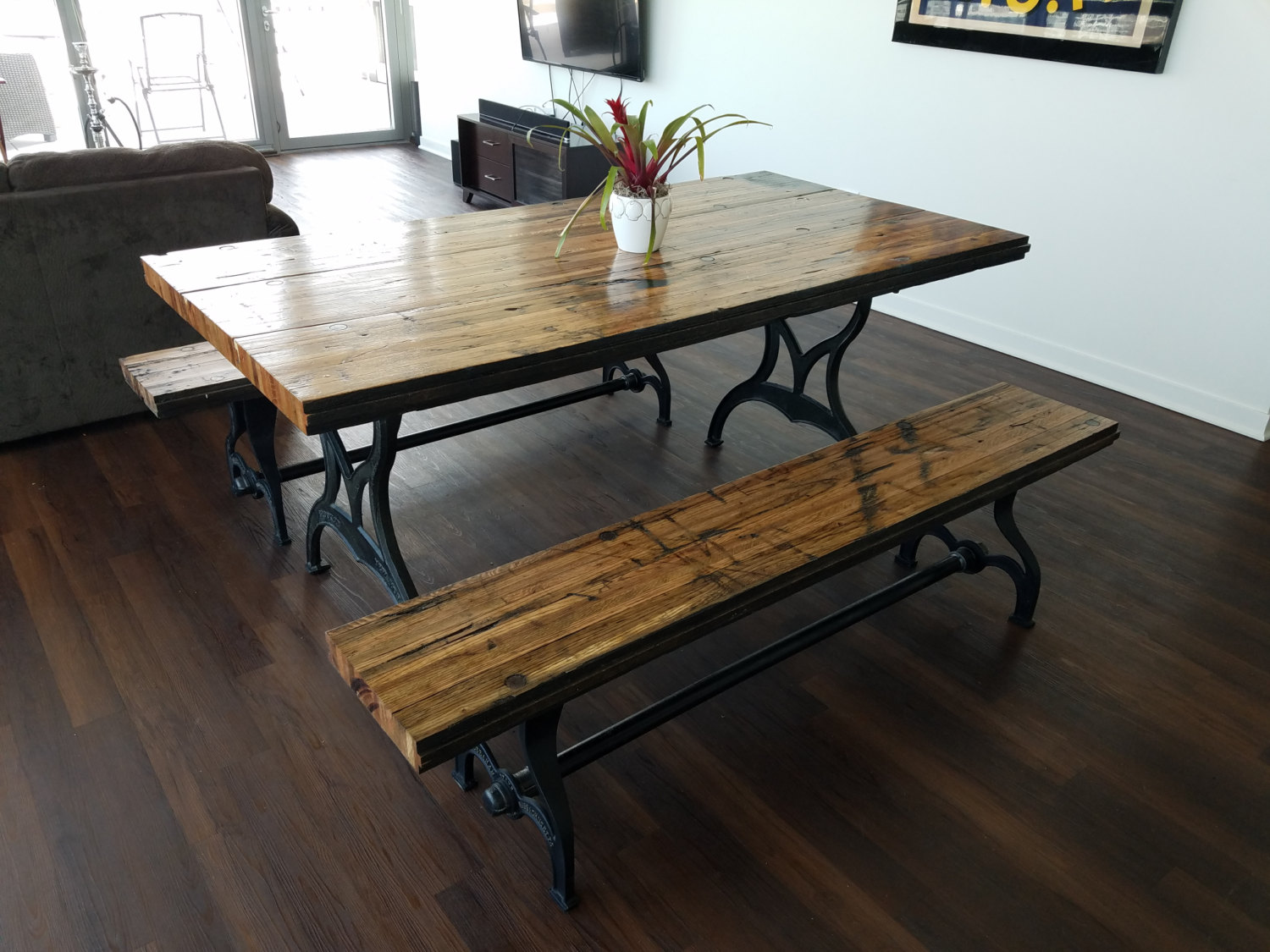 Reclaimed oak boxcar plank table with benches recycled vintage reclaimed oak boxcar plank table with benches recycled vintage antique rustic watchthetrailerfo
