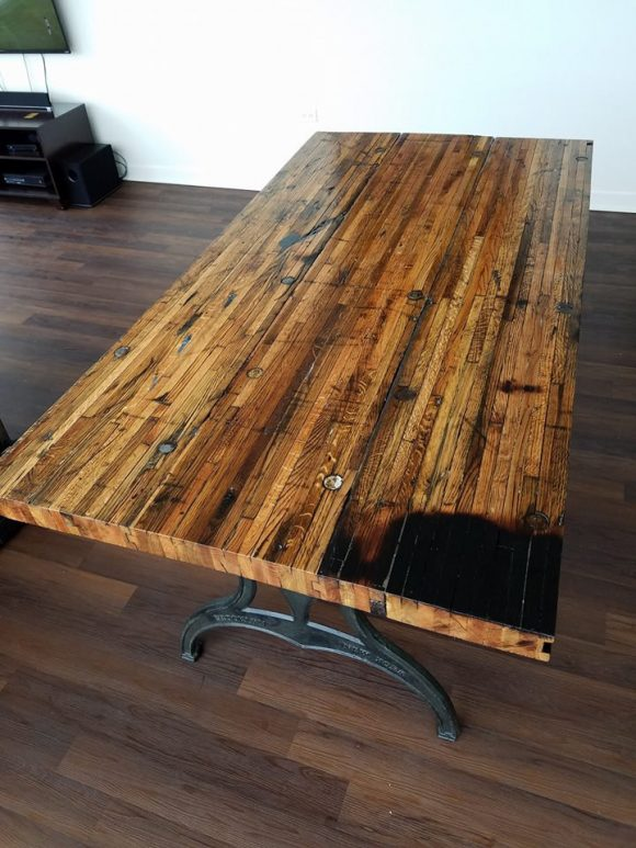 Reclaimed Oak Boxcar Plank Table with benches, Recycled, vintage, antique, rustic, kitchen table, picnic table, iron legs, oak, Americana
