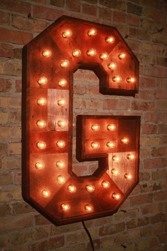 Reclaimed Wood Marquee Letters W Lights Shabby Chic Salvaged Barn