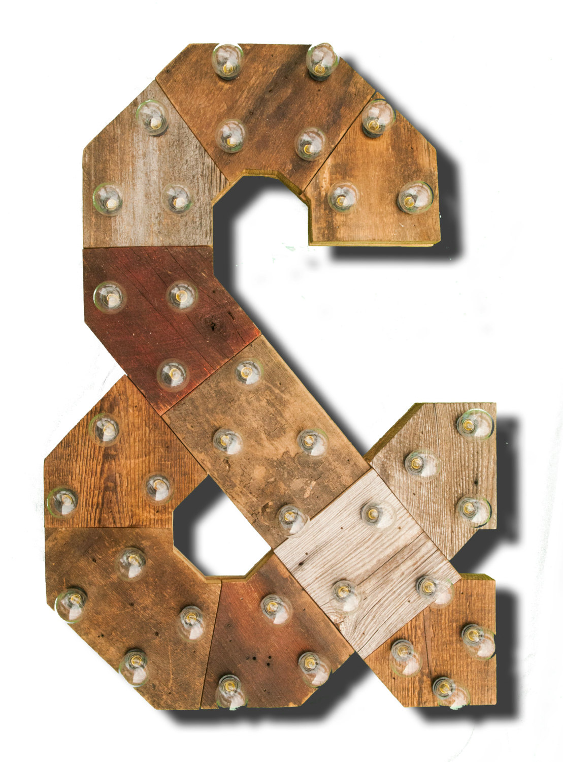Reclaimed Wood Marquee Letters W Lights Shabby Chic Salvaged Barn Letter