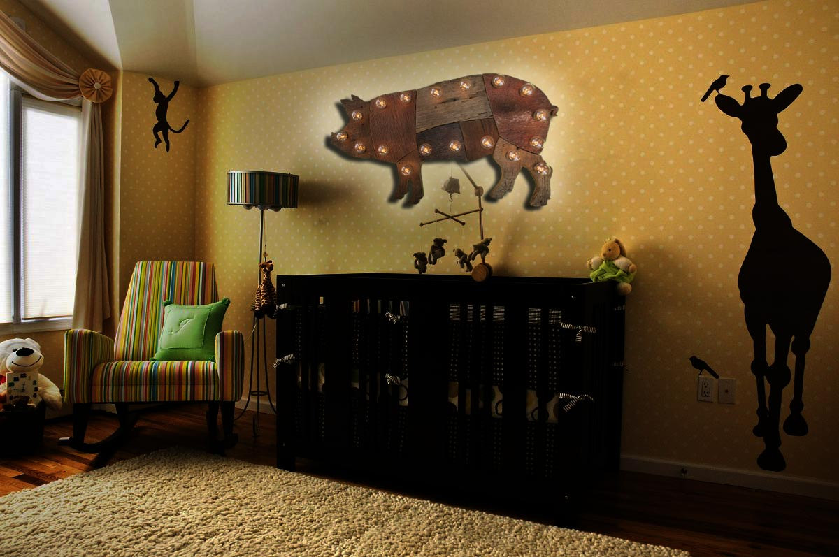 Reclaimed wood marquee pig w lights shabby chic for Home decor 72