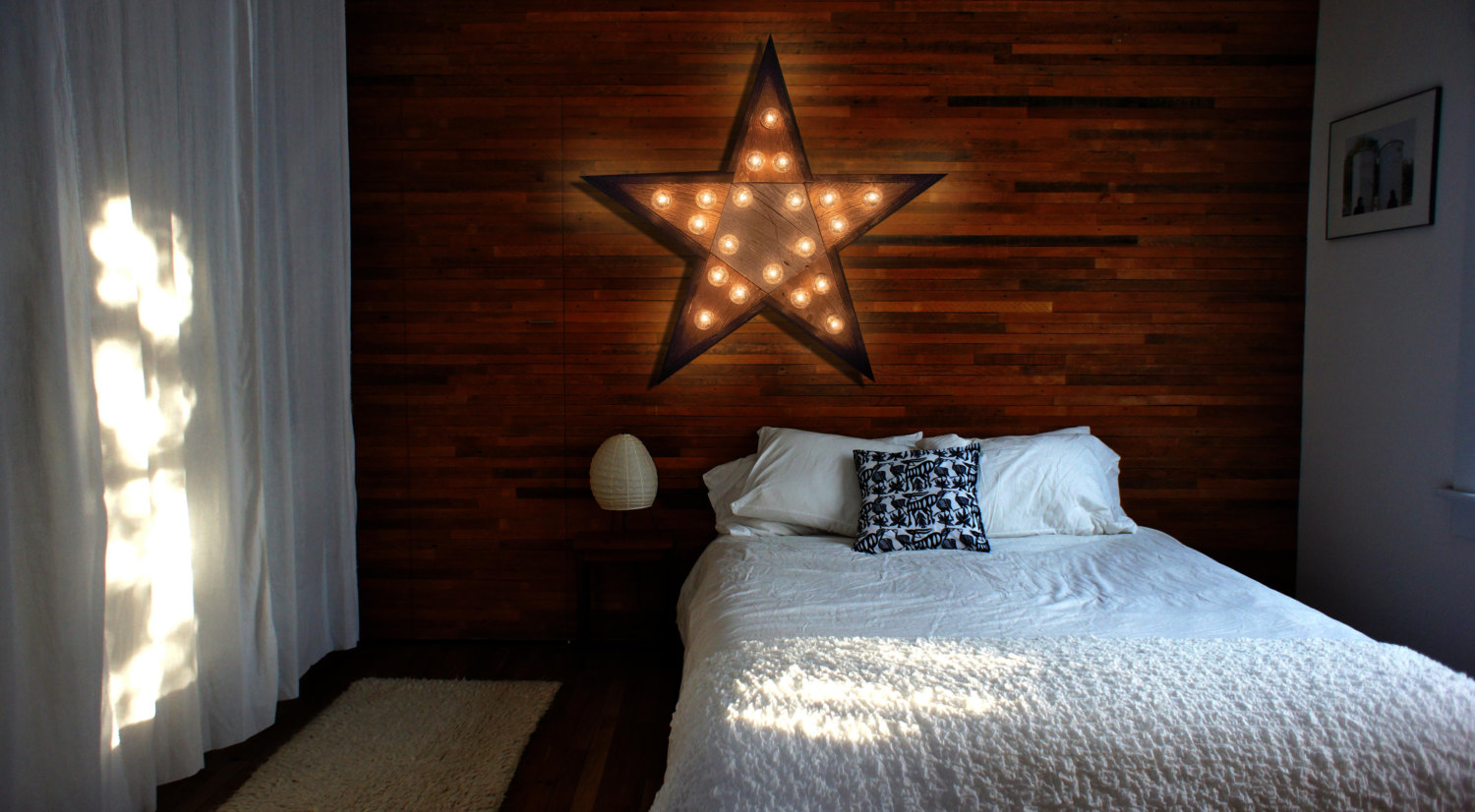 Reclaimed wood marquee star w lights shabby chic for Home decor 72