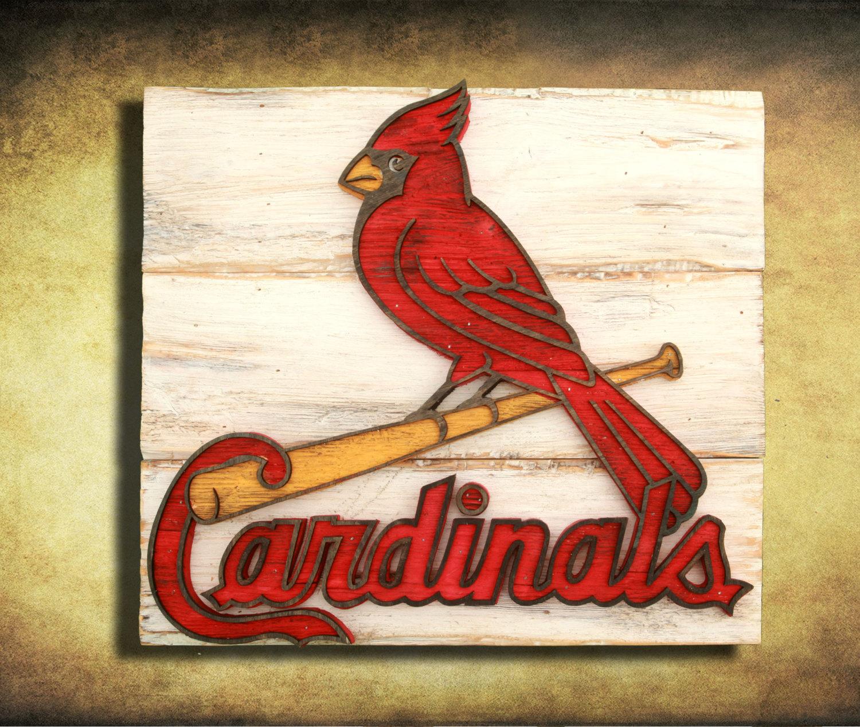 saint louis cardinals handmade distressed wood sign. Black Bedroom Furniture Sets. Home Design Ideas