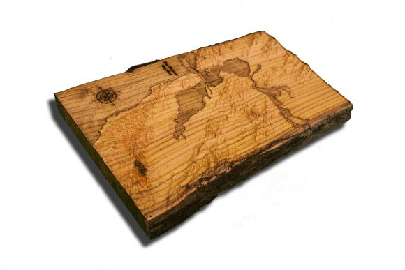 San Francisco Bay Area Topographical Map from a natural live edge wood slab,  California, vintage, rustic fine art one of a kind piece.