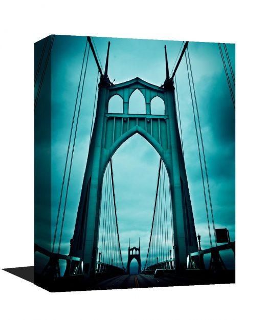 stunning museum quality canvas print, Saint Johns Bridge, photography, Teal, Blue, Portland Oregon, St. John's, Home Decor, Portland Bridge