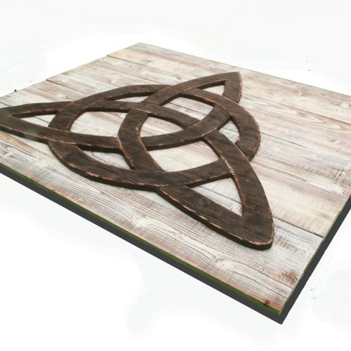 Trinity Knot (Triquetra) 3D from reclaimed wood, vintage, art, weathered, recycled, home decor, Irish, luck Man Cave, white, brown