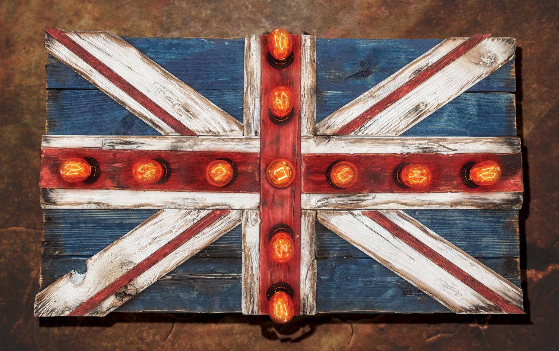 Union Jack Flag Weathered Distressed Wood Edison Limited Edition Vintage