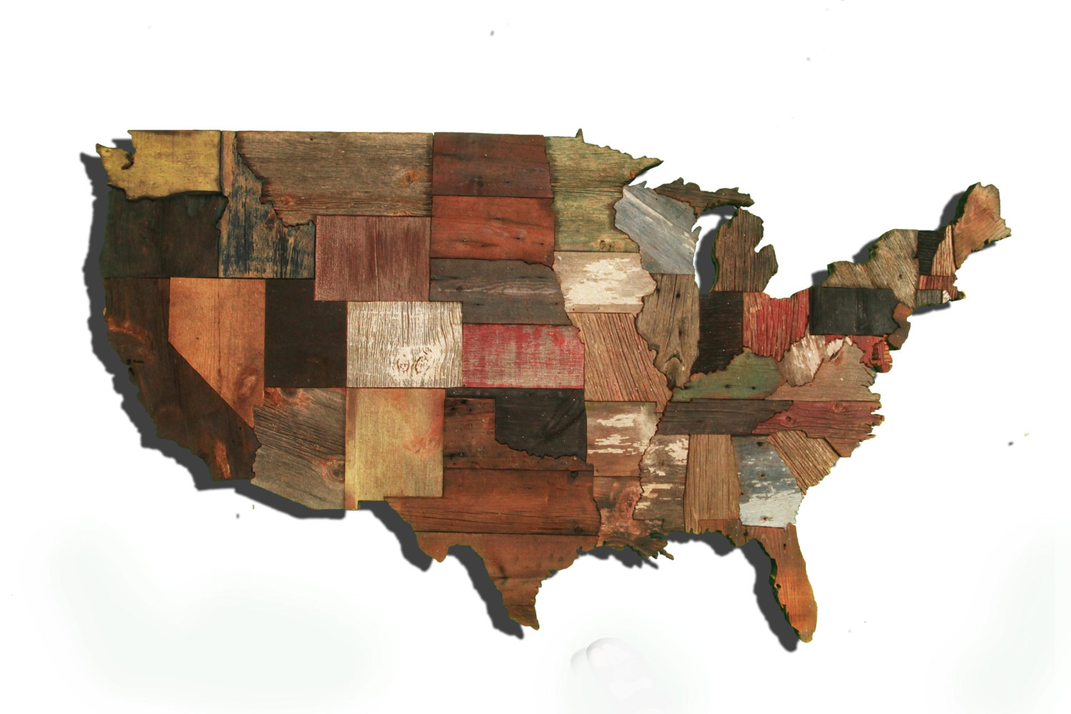 United States Of America Map From Reclaimed Barn Wood Recycled Usa