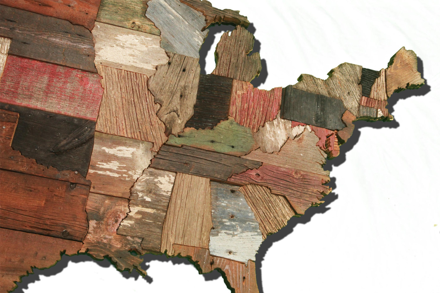 United States Of America Map From Reclaimed Barn Wood Recycled - Wood us map