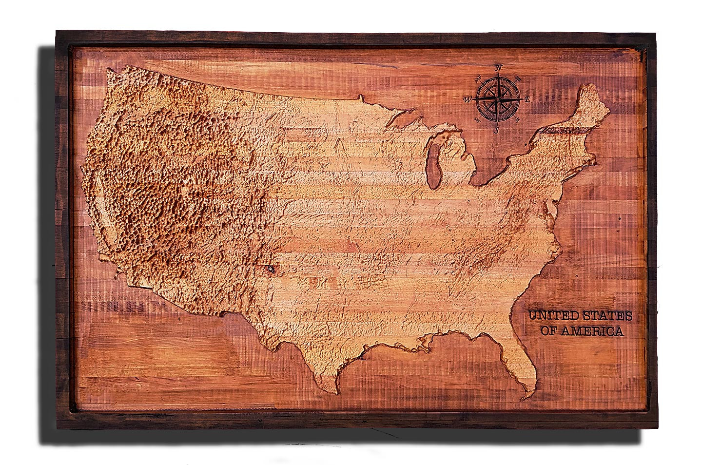 United States Map Topographic.United States Of America Topographical Map From A Varity Of Wood