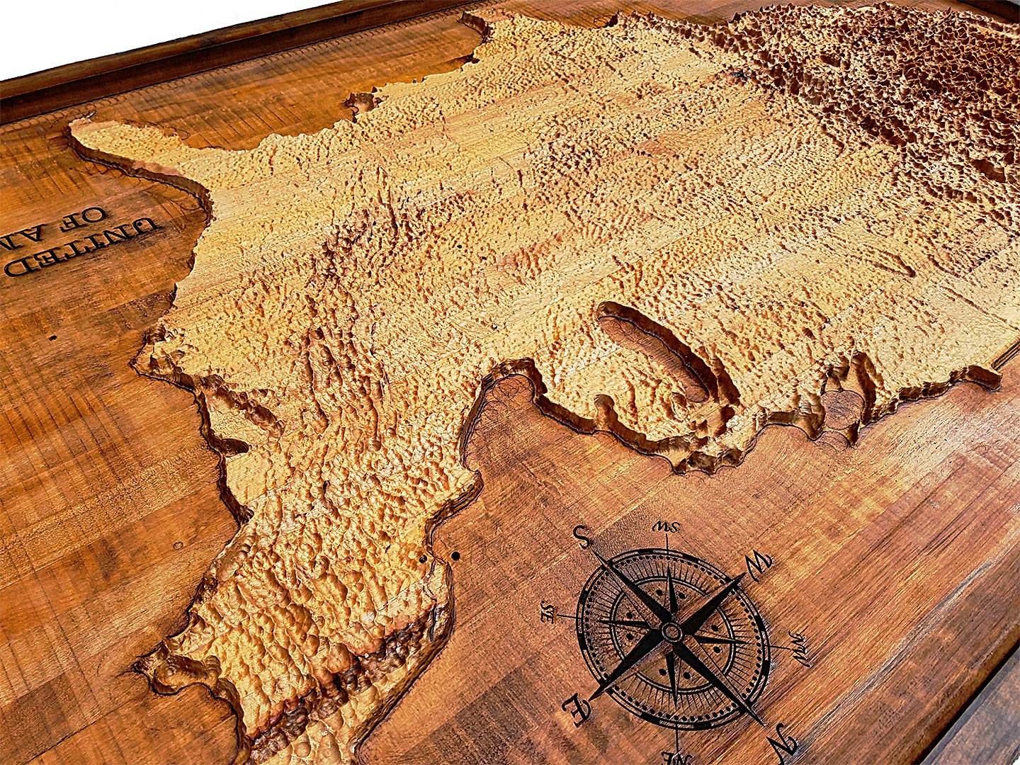 United States Of America Topographical Map From A Varity Of Wood
