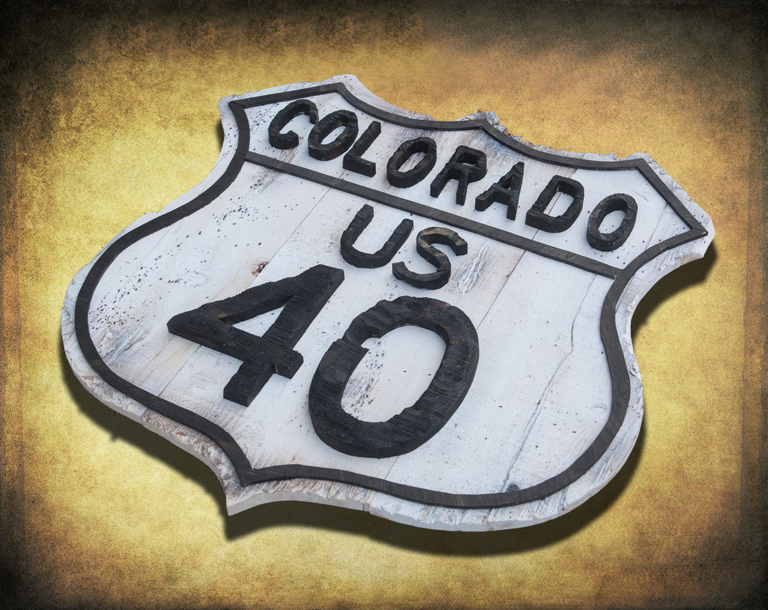 Vintage Road Sign Reclaimed Wood Colorado Route 40