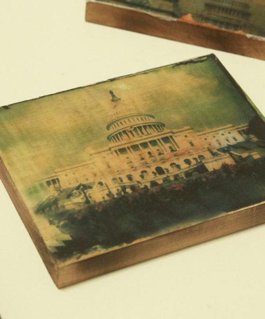 Washington DC photography, Polaroid transfer, wood block, capital, USA, patriotic, photo, green, vintage, home decor, antique, rustic