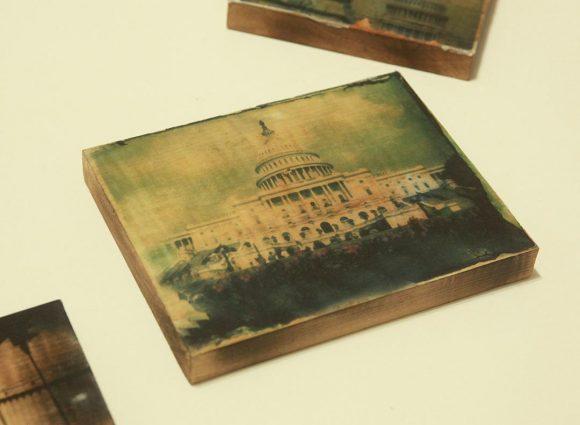 Washington DC photography, Polaroid transfer, wood block, capital, USA, patriotic, photo, green, vintage, home decor, antique, rustic